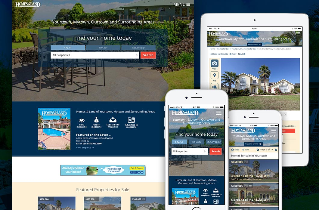 Homes & Land local magazine websites